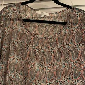 Feather Printed Sheer Top